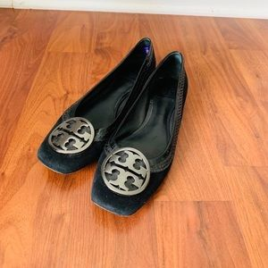Tory Burch black suede flats size 8